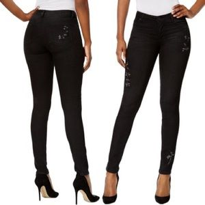 Kut from the Kloth Black Skinny Embroidered Pants